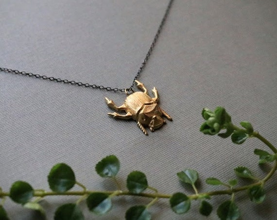 Scarab // brass beetle necklace