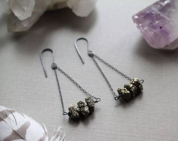 Falling Star // raw pyrite bar earrings