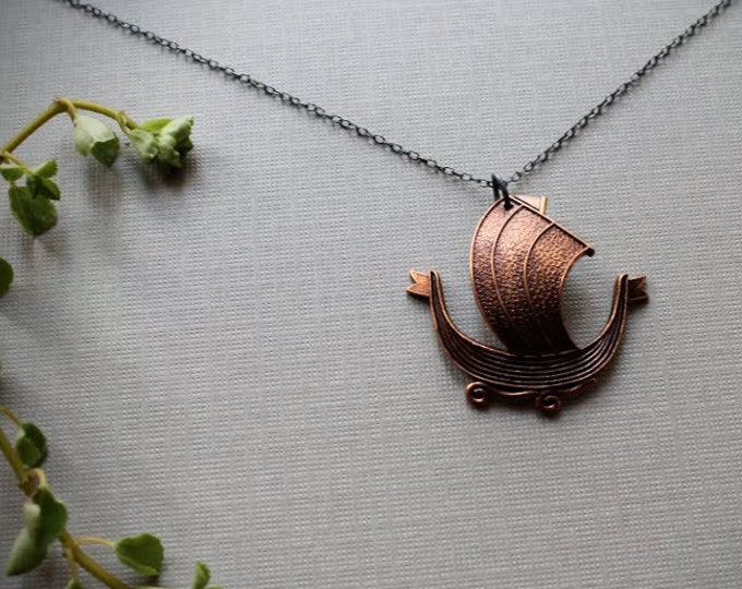 North Sea // red brass viking ship necklace