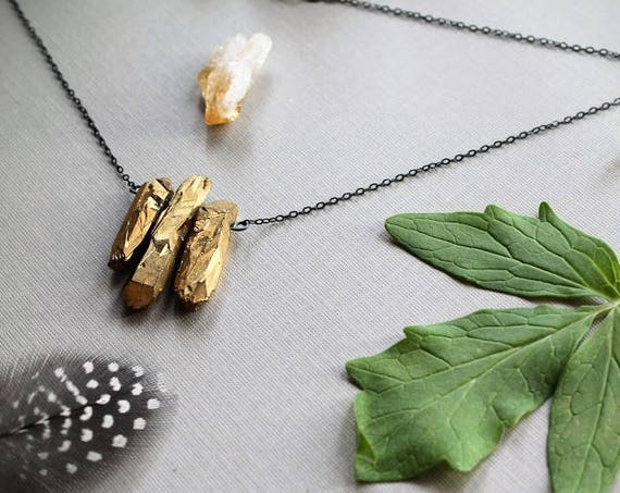 The Midas Touch // gold quartz point necklace