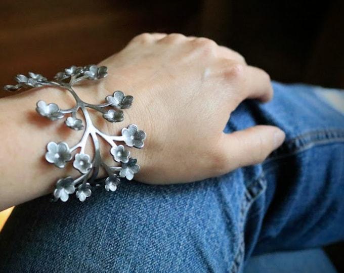 May Flowers in Silver // steel flower cuff bracelet