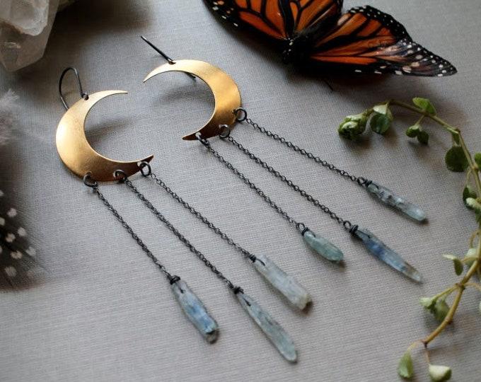 Moondust in Kyanite // brass crescent moon and kyanite earrings