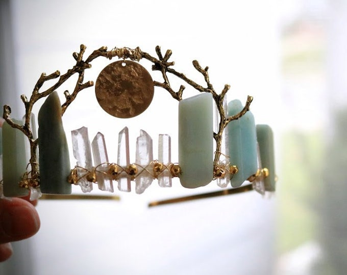 Frigg // viking handfasting crown with golden branches and a full moon