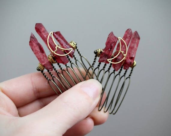 Blood Moon // crescent moon and red crystal hair comb - you can choose a single one or a pair!