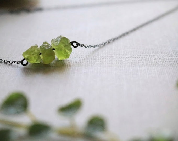 Poison // raw green peridot necklace