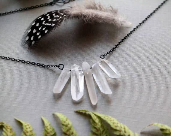 Intuition // raw clear quartz point necklace