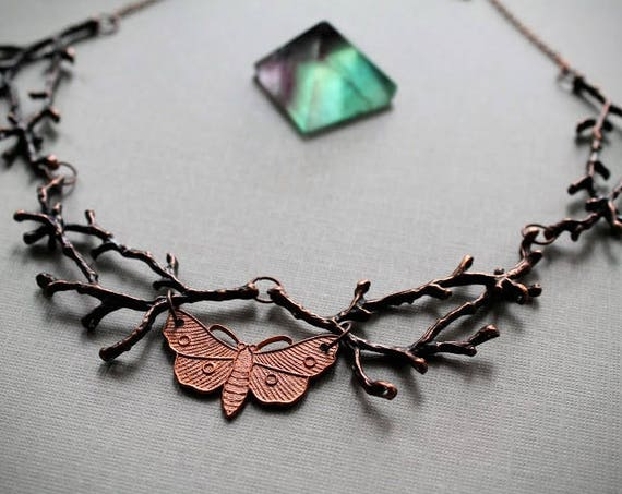 Nocturnal // moth and copper branch necklace