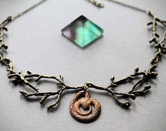 Sagebrush // rattle snake and brass branch necklace