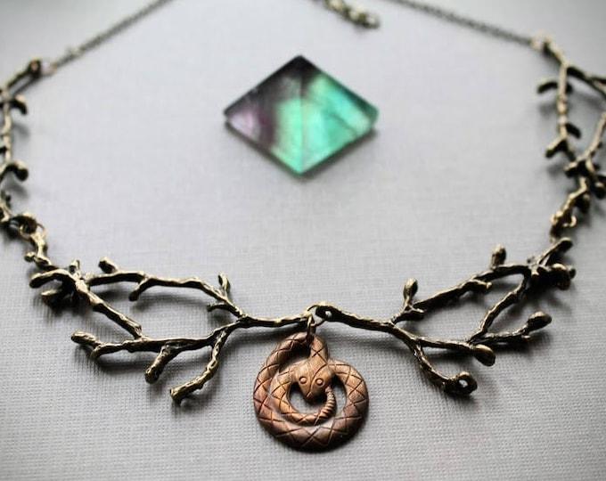 Sagebrush // rattle snake and brass branch necklace