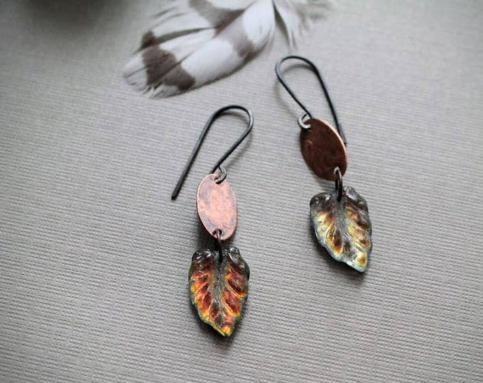Falling // iridescent glass leaf earrings with copper ovals