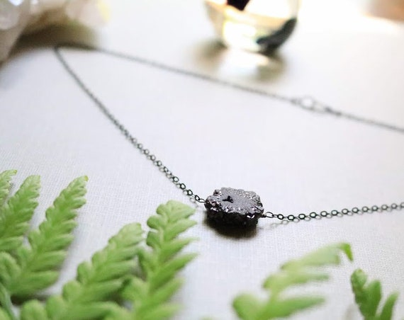 Bonedust // black druzy necklace