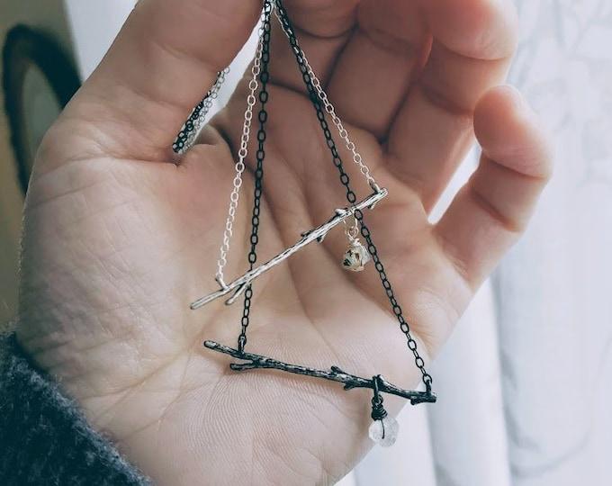 Birth // raw crystal birthstone and twig necklace