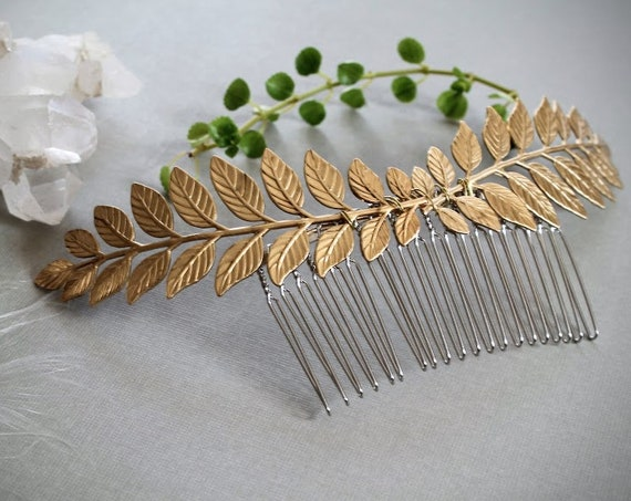 Laurel // golden leaf hair comb