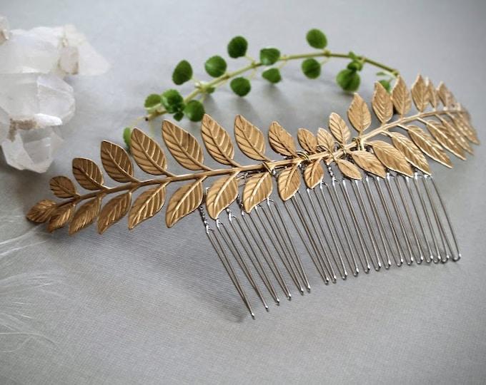 Laurel // golden leaf hair comb