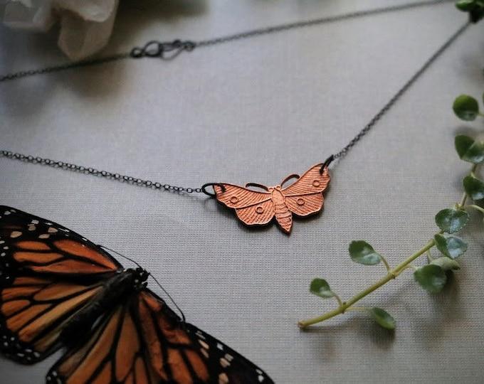 Night Dweller // vintage brass moth necklace