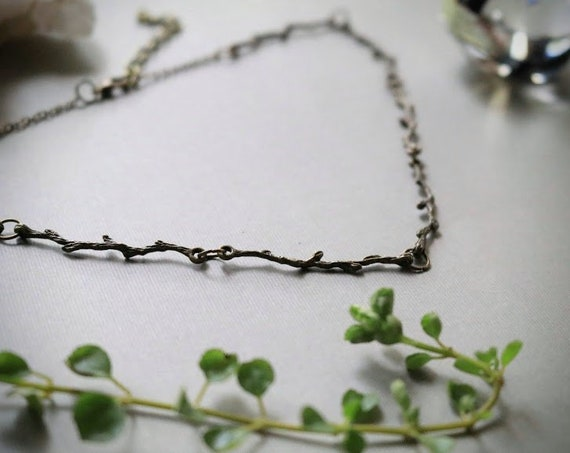 Green Witch // simple brass branch necklace