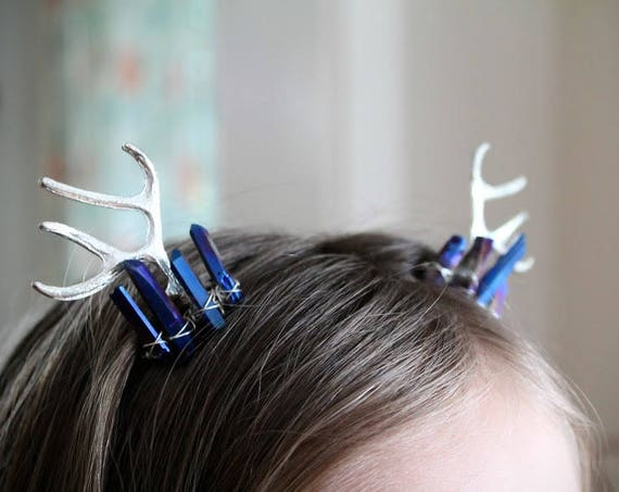 Yearling in Silver // deer antler and blue crystal hair comb