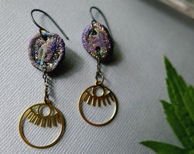 Hanging Brightly // brass eye and rainbow druzy earrings