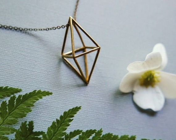 Himmeli // raw brass geometric necklace