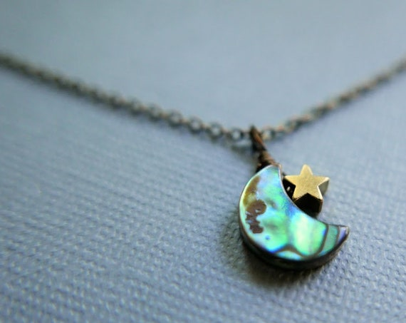 Moonspell // small abalone crescent moon and star necklace