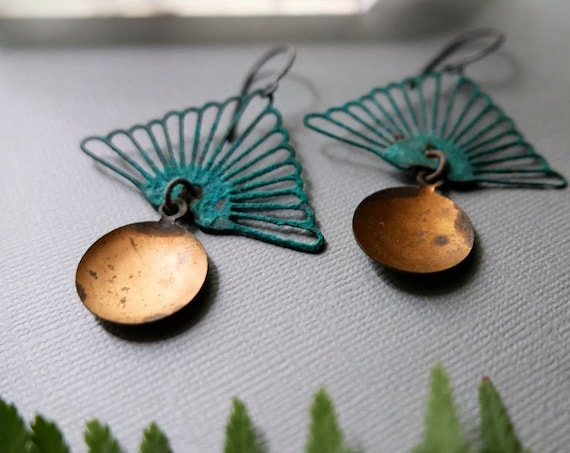Sunrise in the Forest // verdigris triangle earrings with golden discs