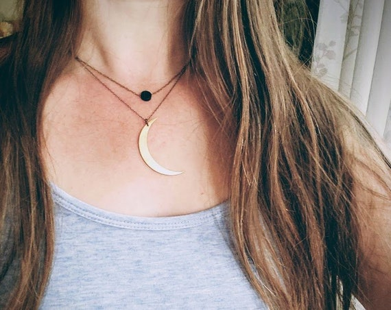 New Moon // black moon necklace