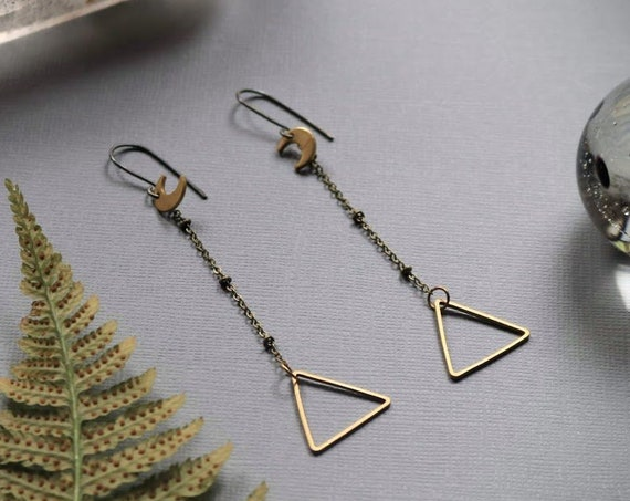 Moons over Mountains // crescent moon and brass triangle earrings