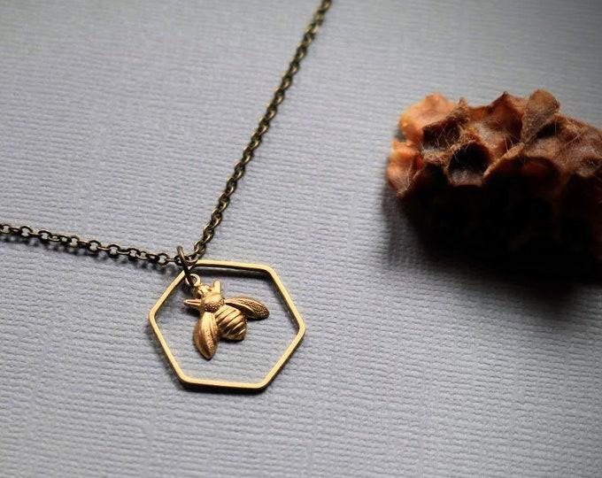 Worker Bee // brass honey bee necklace