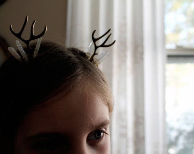 Yearling in Brass // deer antler and aura crystal hair comb