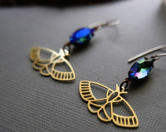 Azul // raw brass butterfly and blue crystal earrings