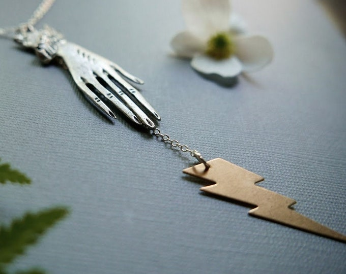 Spell Casting in Silver// large silver hand and lightning bolt necklace