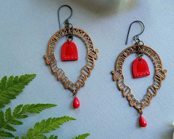 Tiny Red Door // large filigree earrings with a little red door