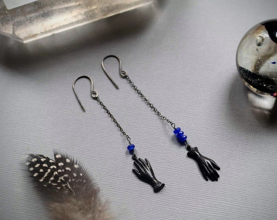 Just a Touch of Death // black hand and blue beaded earrings