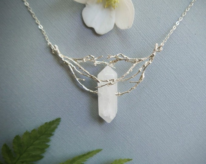 What Lies Beneath // silver roots and white crystal necklace