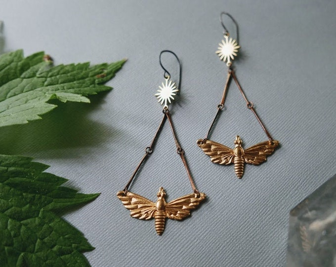 Kissed by Fire // raw brass moth and flame earrings