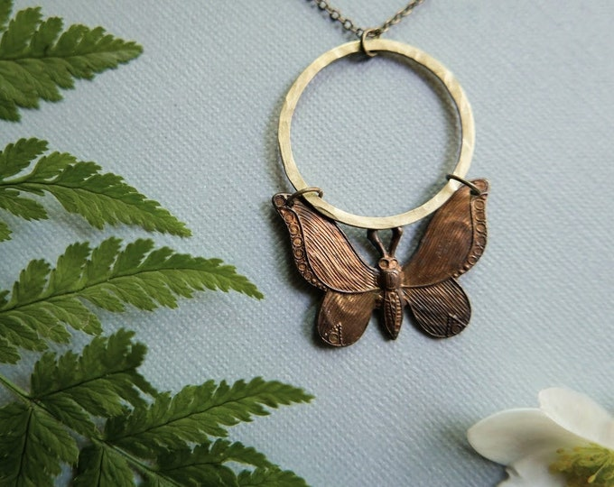 The Moon is My Mother // moon and moth necklace