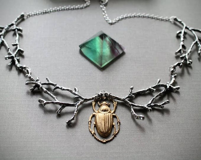June Bug // beetle and silver branch necklace