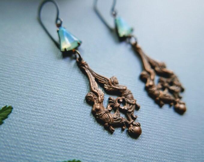 Harpy // brass harpy earrings