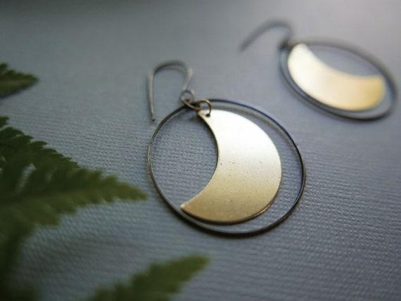 Retrograde // brass crescent moon earrings