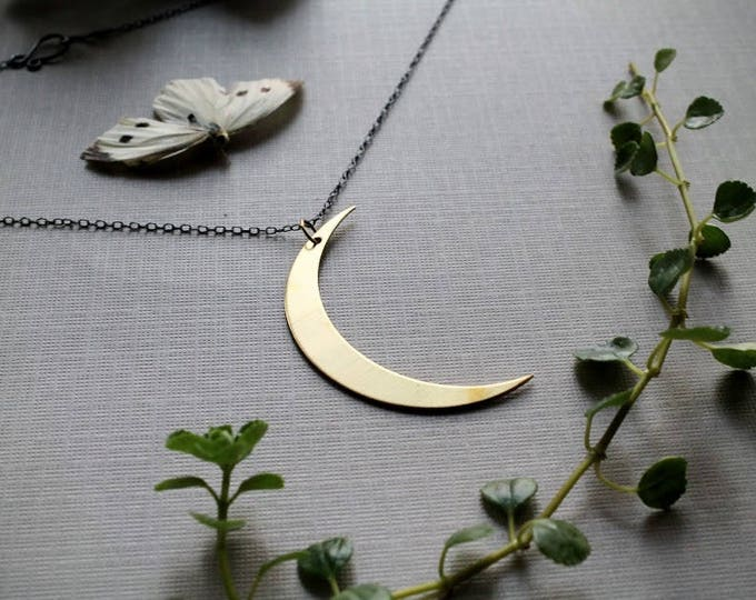 Waning // large brass crescent moon necklace