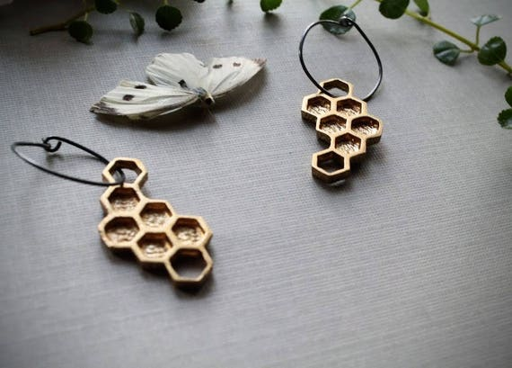 Hive // brass honeycomb earrings
