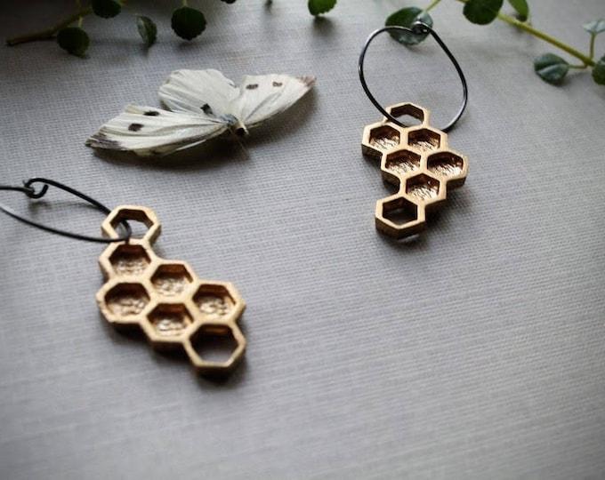 Hive // brass honeycomb earrings