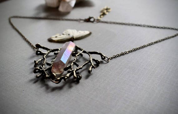 Elven Heart in Hickory // brass branch and crystal point necklace
