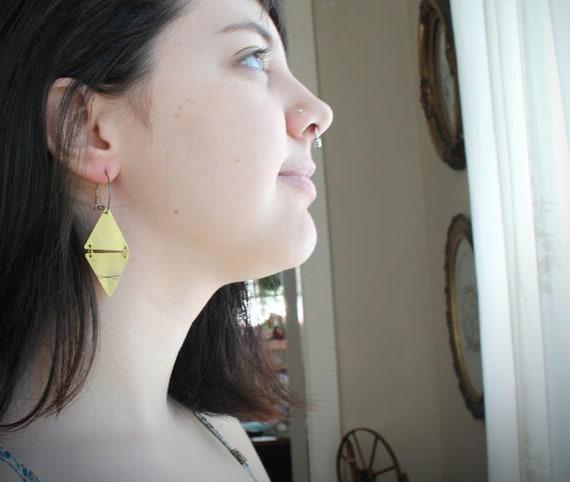 Elemental // four elements brass triangle earrings