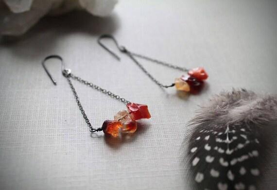 Fire Keeper // raw fire opal earrings