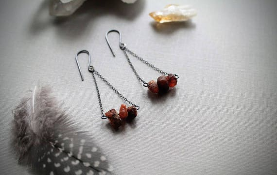 Bellfire // raw amber earrings