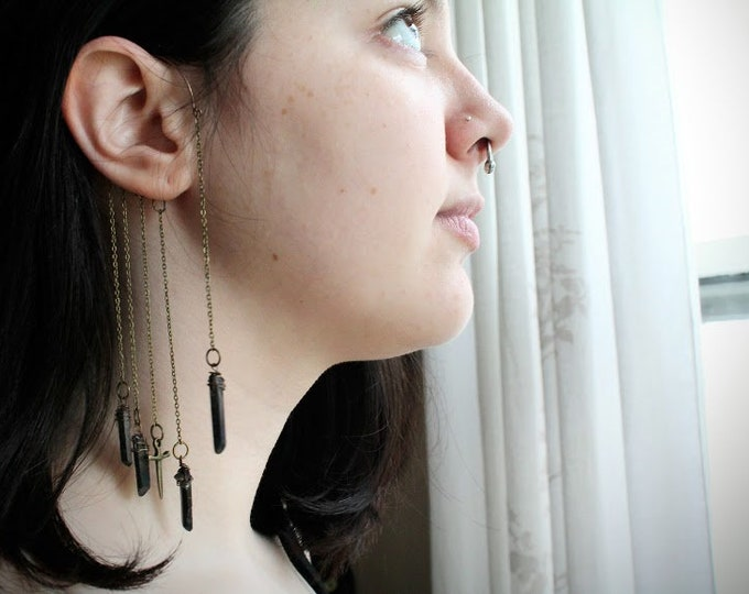 Darkness // athame and black quartz single ear wrap - no piercing needed