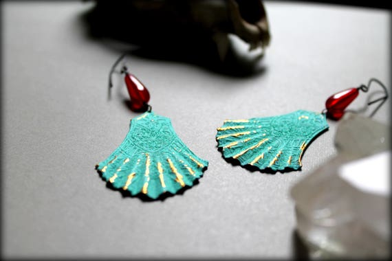 Mirage // turquoise brass fan and vintage red glass earrings