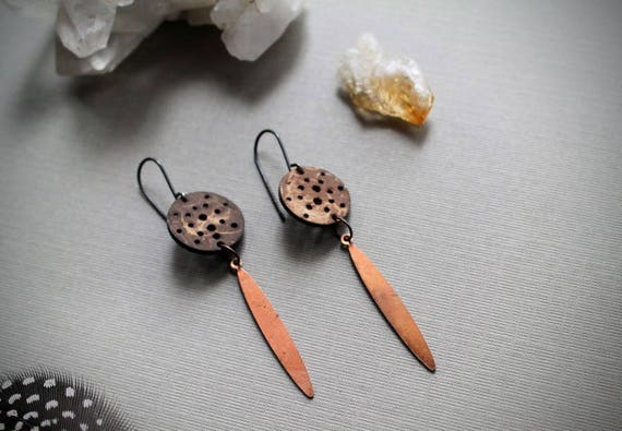 Full Moon // vintage copper drops and coconut circle earrings