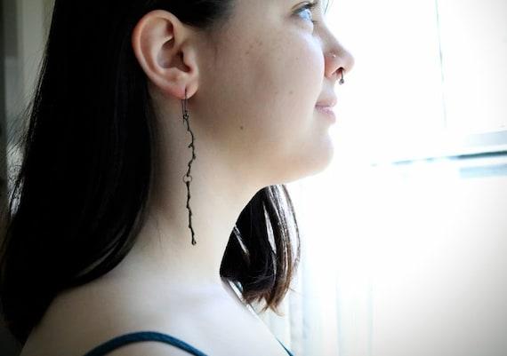Twiggy // long brass branch earrings